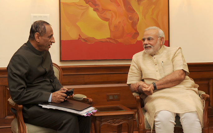 Telangana Governor E.S.L. Narasimhan with Prime Minister Modi (Photo: Wikipedia)