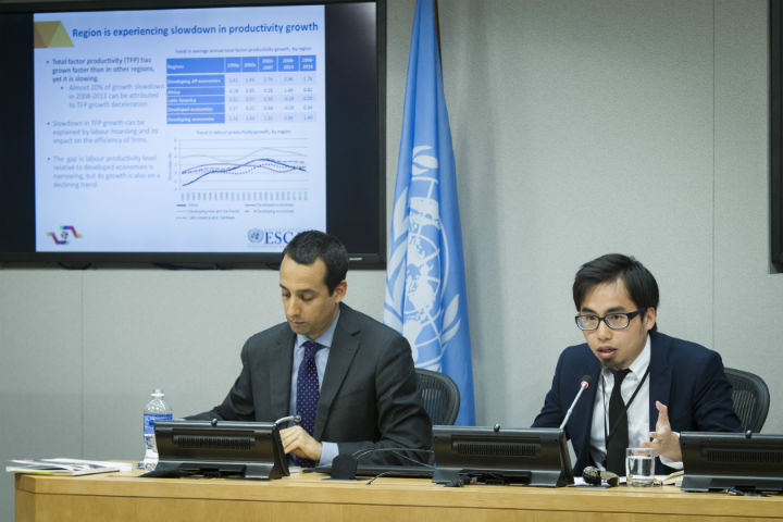 Sebastian Vergara, Economic Affairs Officer at the Department of Economic and Social Affairs (DESA), left, said at a press conference Thursday, April 28, 2016, at the United Nations that a combination of cautious economic policies that promoted reforms, domestic consumption and lowering inflation contributed to India's high growth rates. Hoi Wai Cheng, another DESA Economic Affairs Officer is seen with him. They spoke to the media after thre release of the UN Economic and Social Commission for Asia and the Pacific (ESCAP) 2016 survey. (Credit: UN/IANS)