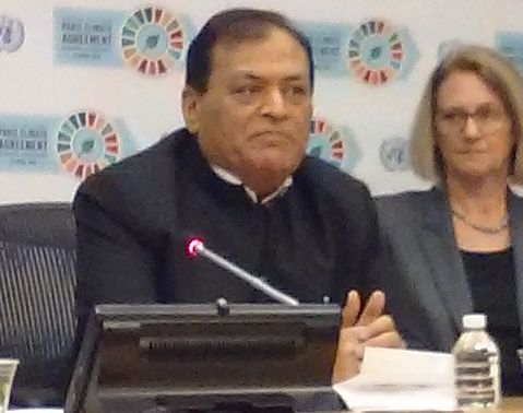 "Mahendra Singhi, the Group CEO of Dalmia Cement,  addresses a news conference at the United Nations, Friday, April 22, 2016, on ""The Impact of the Paris Climate Agreement on Business and Investors."""