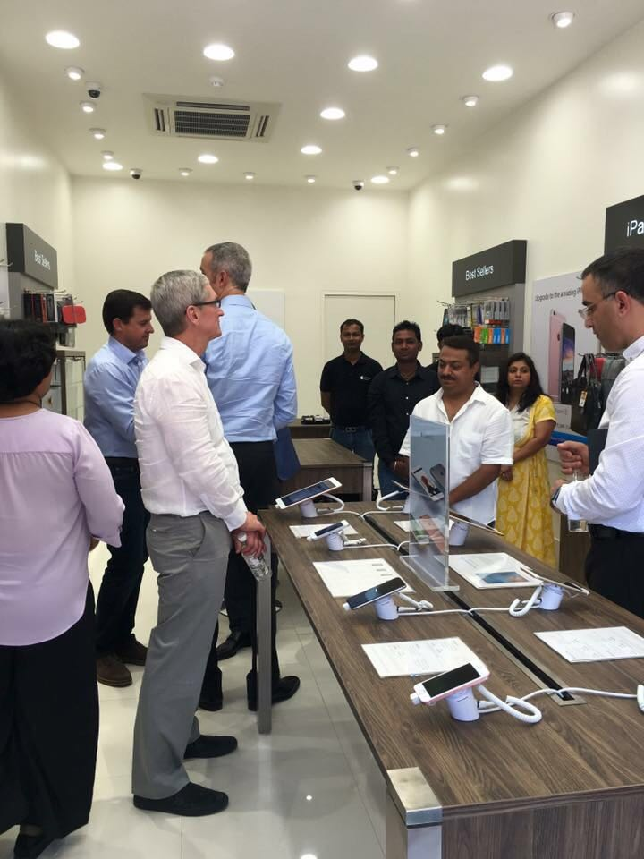 Apple CEO Tim Cook at an Apple store in Gurgaon on May 20, 2016. (Photo: IANS)