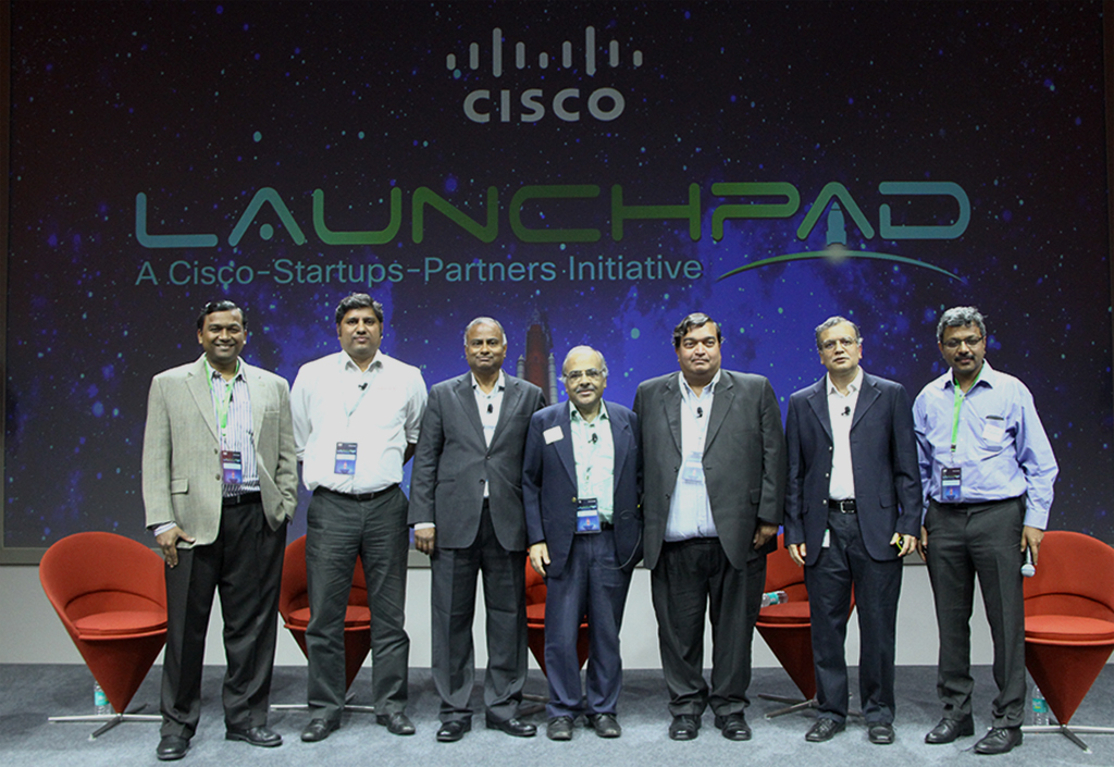 Cisco LaunchPad announcement with industry leaders like - (From left to right) Shekhar Kirani - Partner, Accel Partners; Parag Naik - CEO, Saankhya Labs; L. Ravichandran - President & COO, Tech Mahindra; KS Vishwanathan, NASSCOM; Ravi Gururaj, Founder & CEO, QikPod.com; Amit Phadnis President Engineering and India Site Leader;Ganapathy Subramanian, Walden International