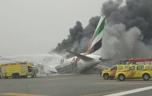 Emirates flight from India catches fire in Dubai