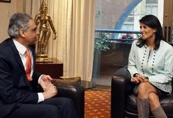 Nikki Haley and Indian Representative to UN discuss India-US cooperation